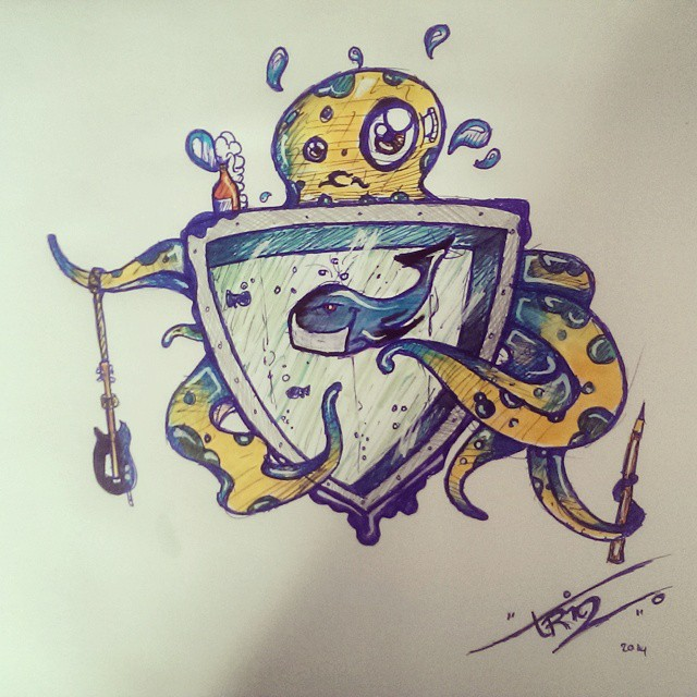 Squid and whale crest