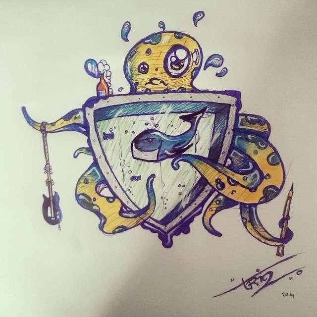 Squid whale crest illustration by Suikervrij Design