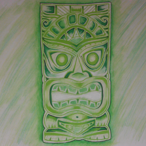 Tiki aquarel green