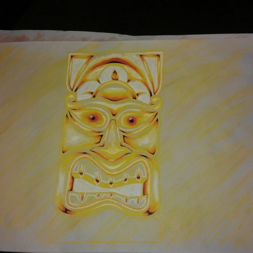Tiki aquarel yellow